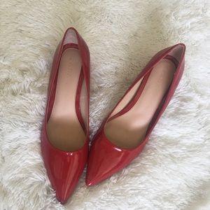 "Zara Red Pointy Toe 2"" Block Heels"